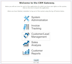 The Centri-Force CRM and business system.  On successful authentication, a simple gateway directs users to the key components of the system.